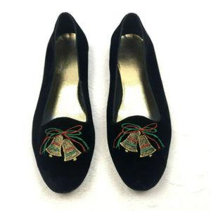 Womens Vintage Christmas Flats Black Velvet Sz 10